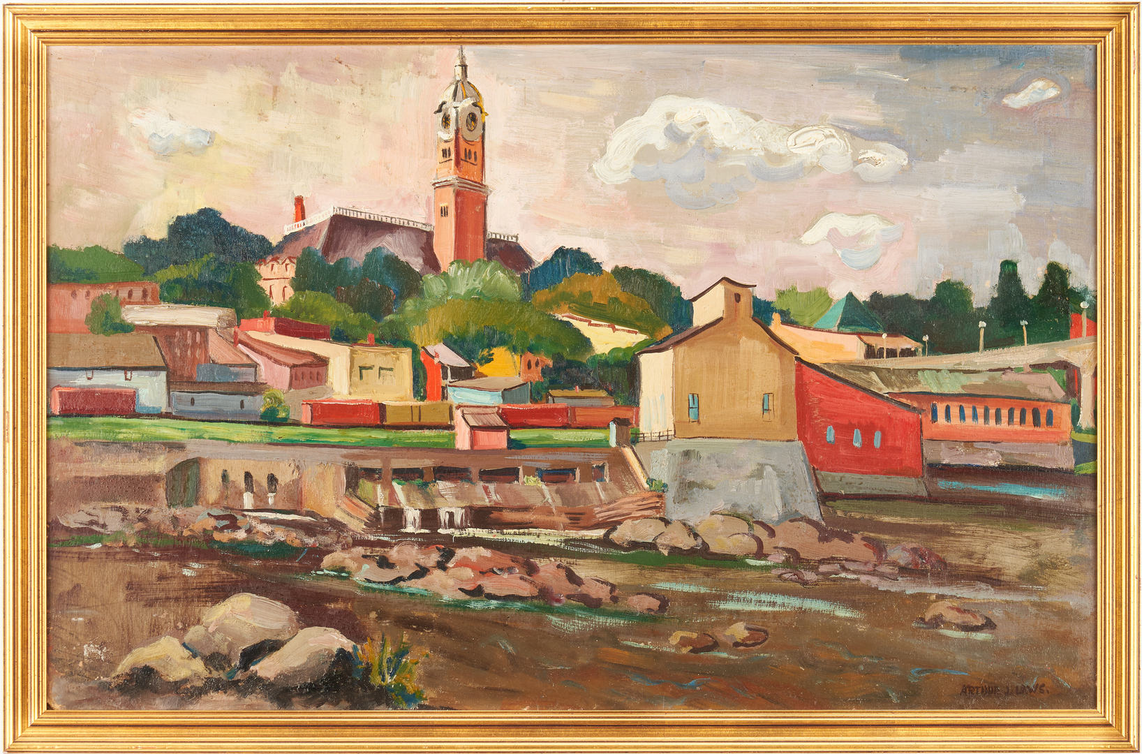 Lot 756: Arthur Laws O/B, Harbor Town Scene