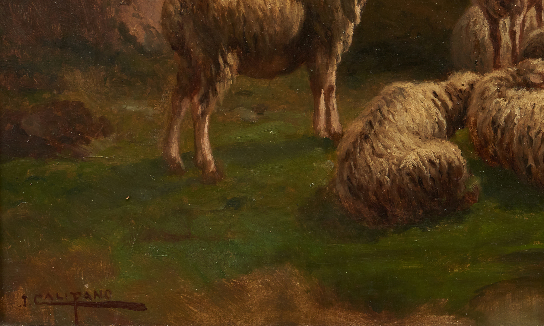Lot 757: J. Califano O/B Landscape Painting of Sheep