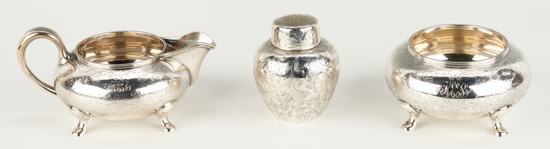 Lot 75: BSC Co. Sterling Tea Set inc. Kettle & Stand