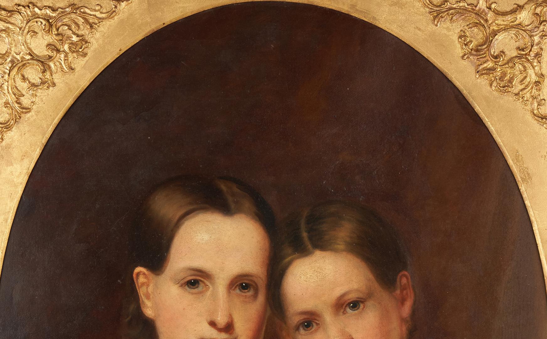 Lot 760: American School 19th C. Portrait of Two Girls