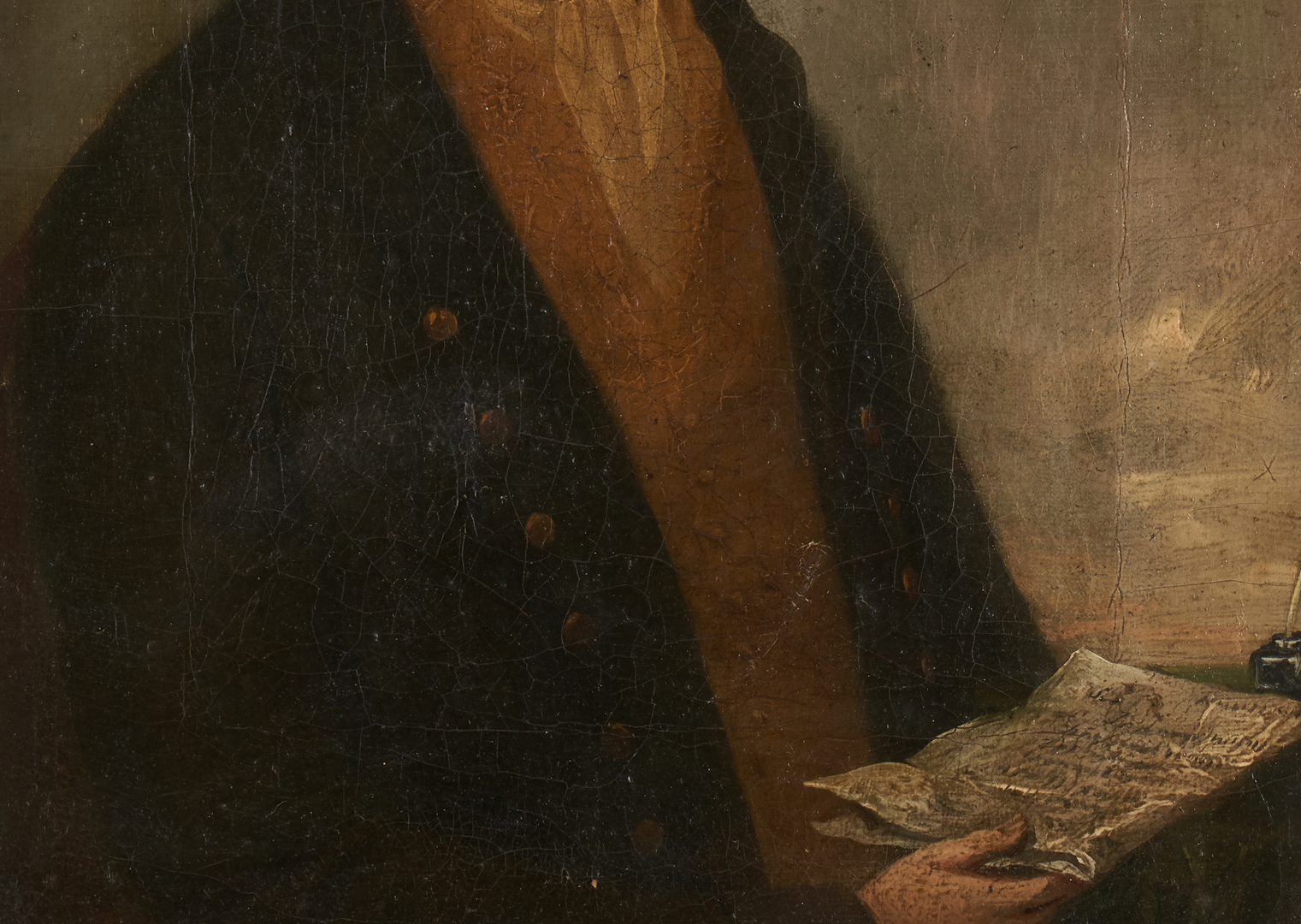 Lot 762: Pair of 18th Century Portraits, Man with Letter and Woman in Bonnet