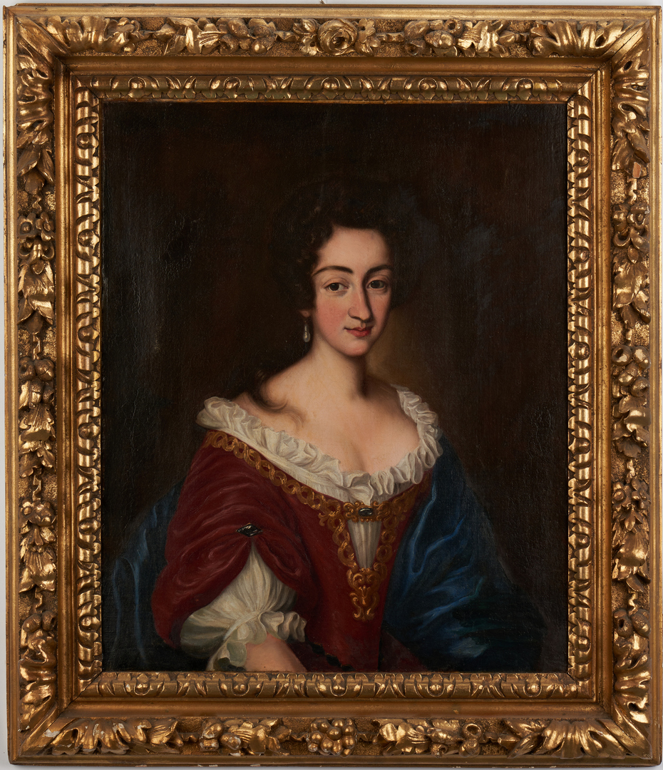 Lot 763: English School, 17th C. Portrait of Lady in Early Frame