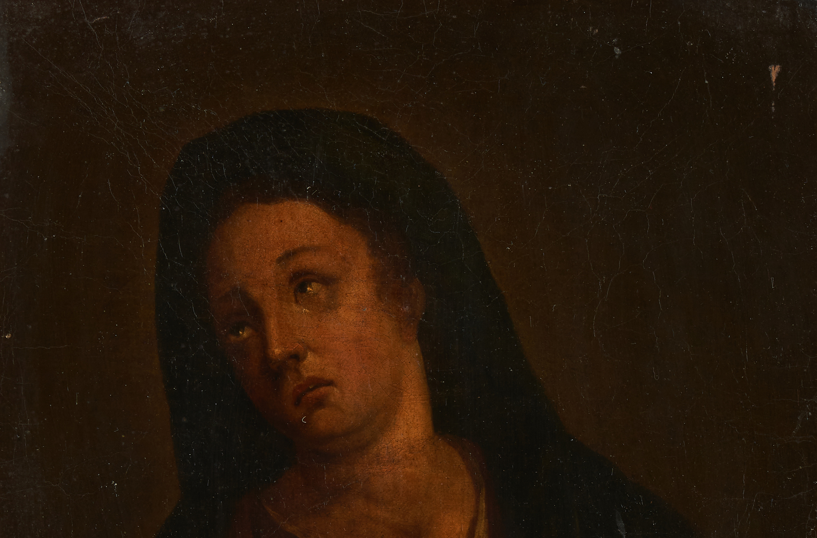 Lot 765: Pair Old Master O/C Portraits, Christ & Mary