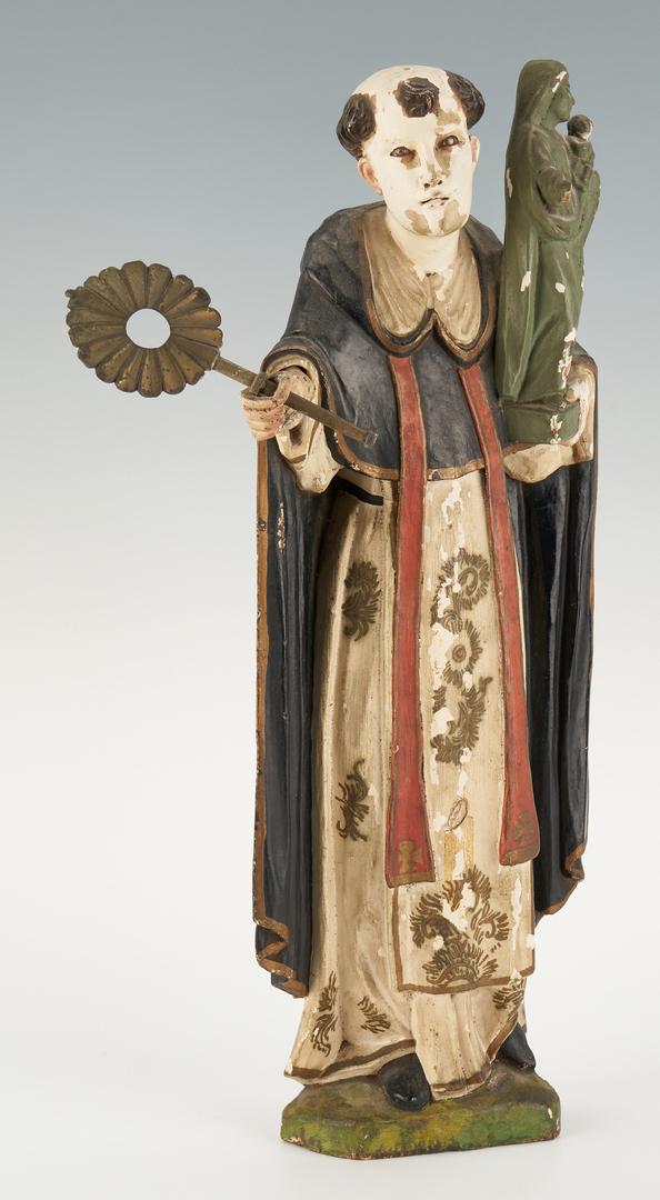 Lot 767: Spanish Colonial Carved Santos Figure & Santos Head