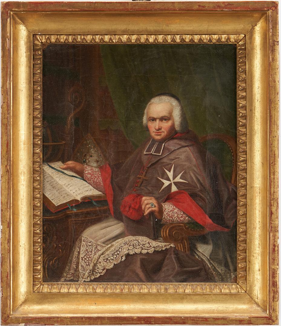 Lot 768: Continental School, Oil Portrait of a Cardinal