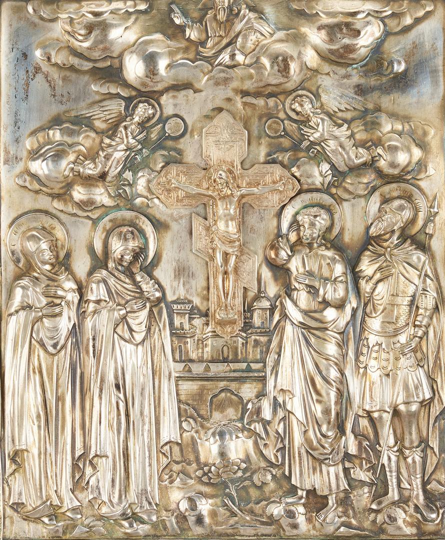 Lot 769: Russian Silver Relief Icon & Madonna w/ Child Icon