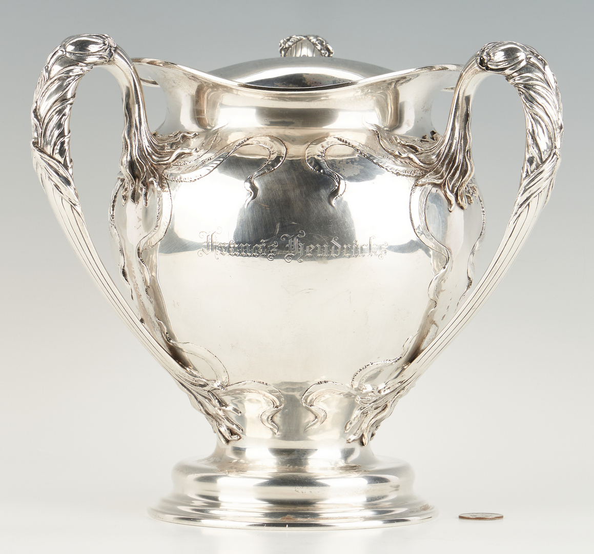 Lot 76: Large Art Nouveau Sterling Loving Cup, Dominick & Haff