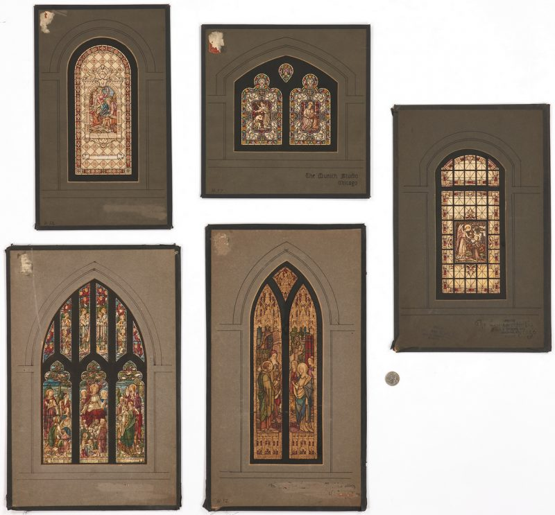 Lot 772: 5 Stained Glass Window Studies, Munich Studios Chicago