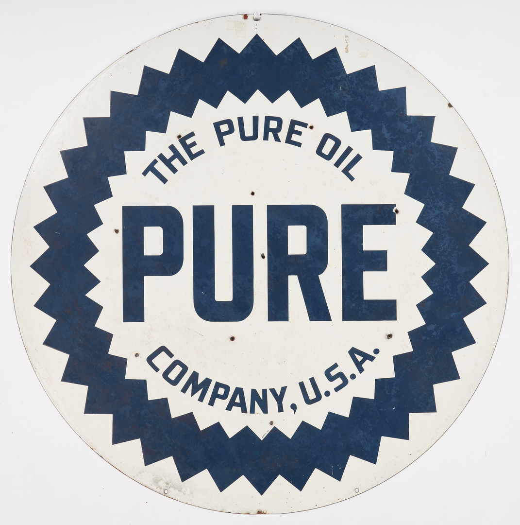 Lot 782: Large Pure Oil Double Sided Porcelain Enamel Advertising Sign