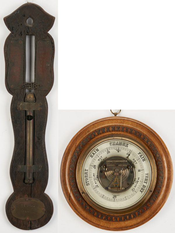 Lot 788: English Water Clock and Barometer, 2 items