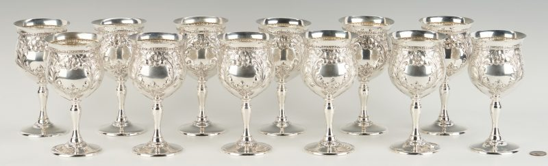 Lot 78: 12 Fisher Sterling Water Goblets, Violet Pattern