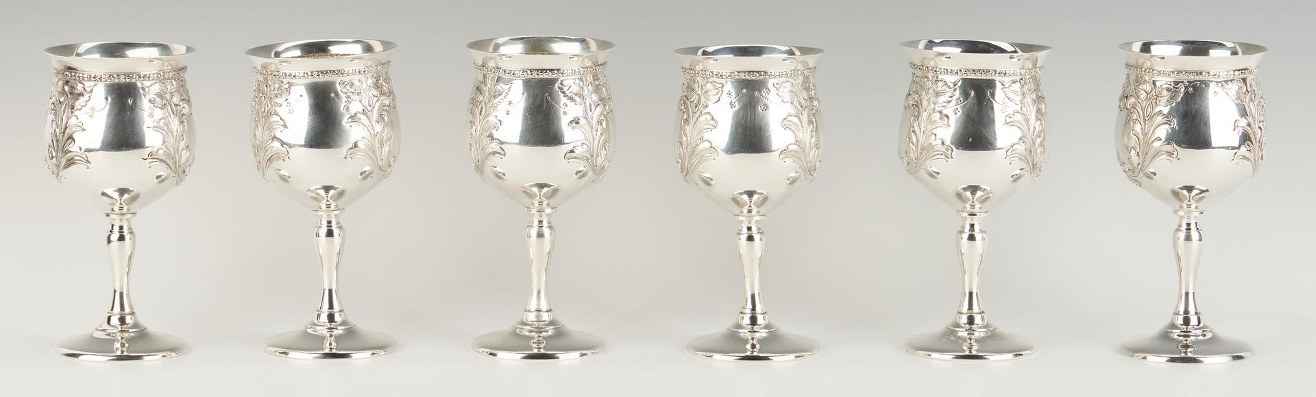 Lot 78: 12 Fisher Sterling Water Goblets, Violet Pattern