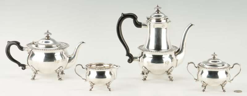 Lot 802: Tiffany Sterling Silver 4-Piece Tea Set