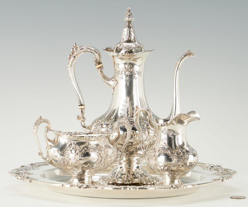 Lot 803: 3 Pc. Sterling Francis I Bachelor Tea Set w/ Tray