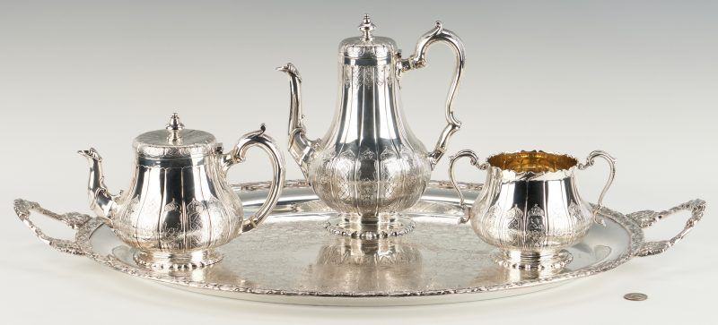 "Lot 80: Victorian ""Moresque"" 3 pcs. Sterling Tea Set plus S/P Oval Tray"