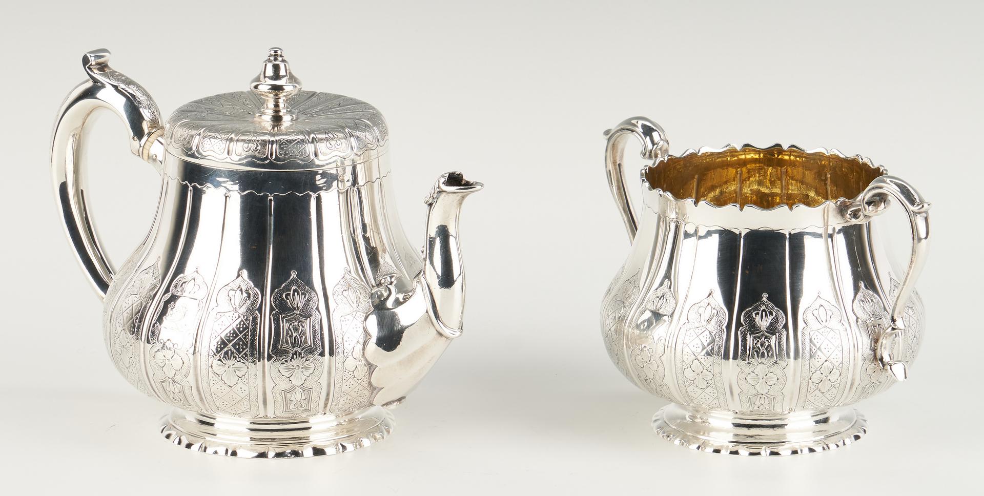 "Lot 80: Victorian ""Moresque"" 3 pcs. Sterling Tea Set plus S/P Oval Tray"
