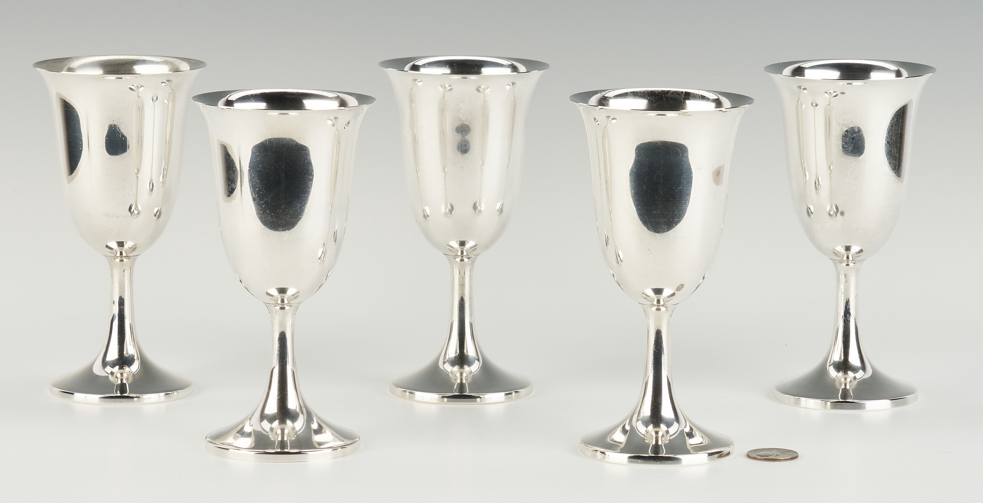 Lot 814: 5 Web Sterling Silver Water Goblets