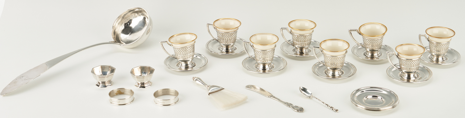 Lot 821: 16 Silver Items incl. Demitasse Cups w/ Sterling Holders, Ladle