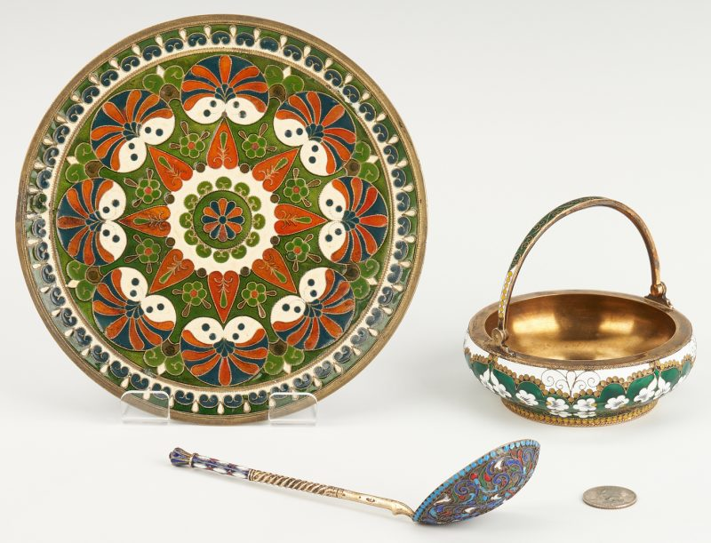 Lot 824: 3 Continental Enameled Decorative Items