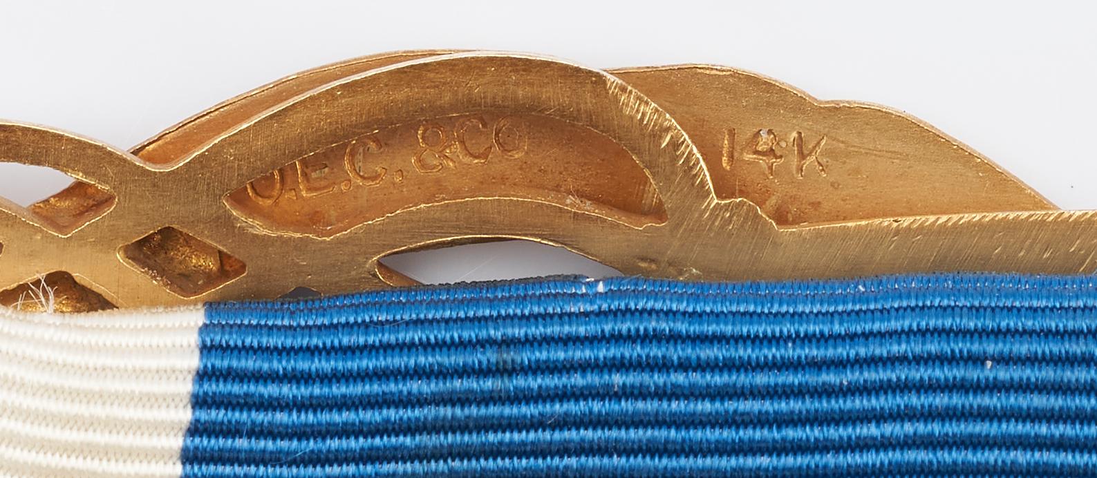 Lot 826: D.A.R. Ribbon w/ J.E. Caldwell Enameled Gold Badges