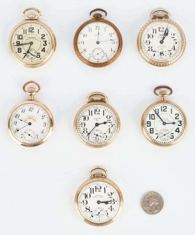 Lot 833: 7 Pocket Watches incl. Waltham, Hamilton, Elgin