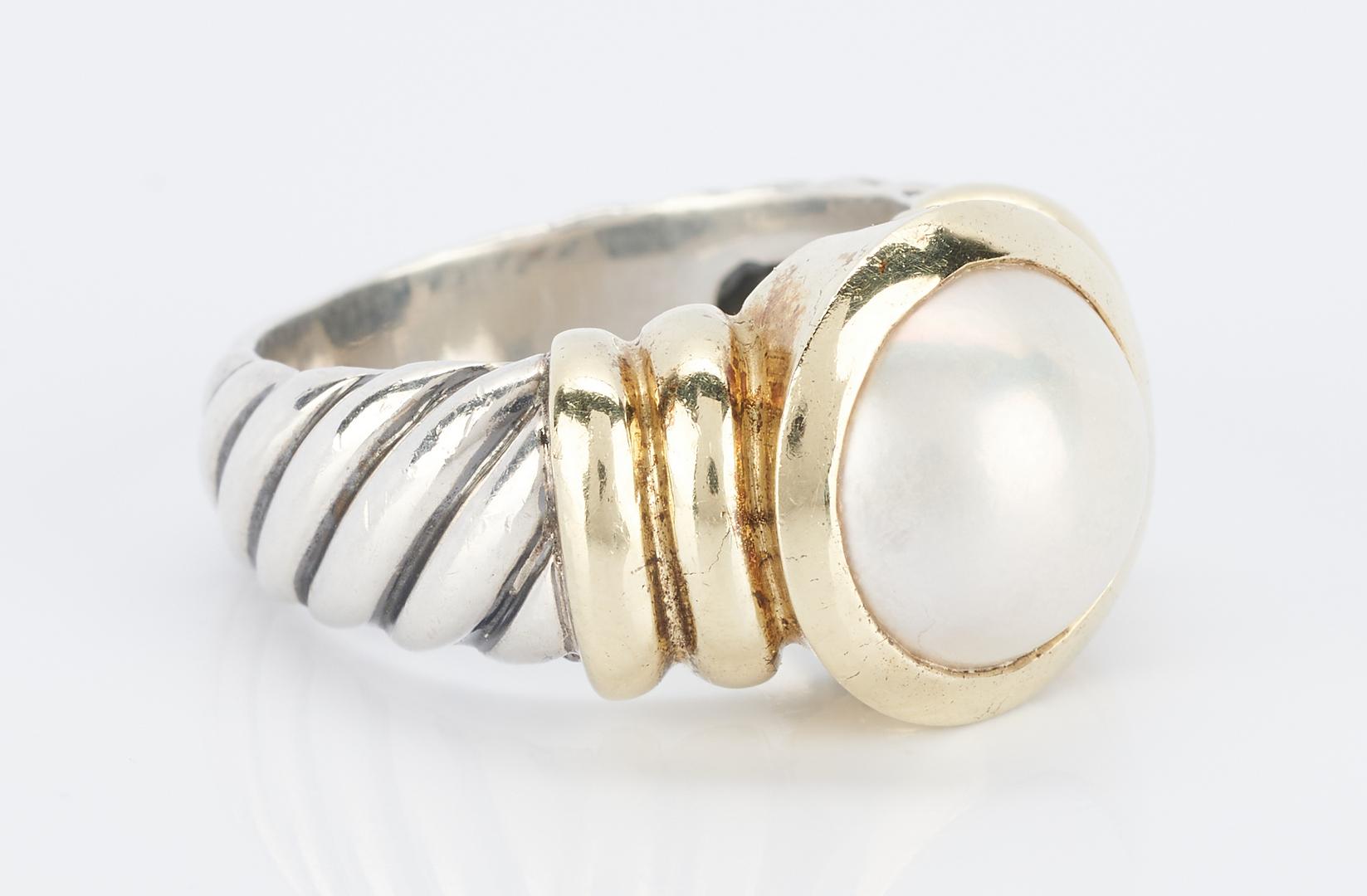 Lot 834: David Yurman 14K & Sterling Silver Pearl Ring