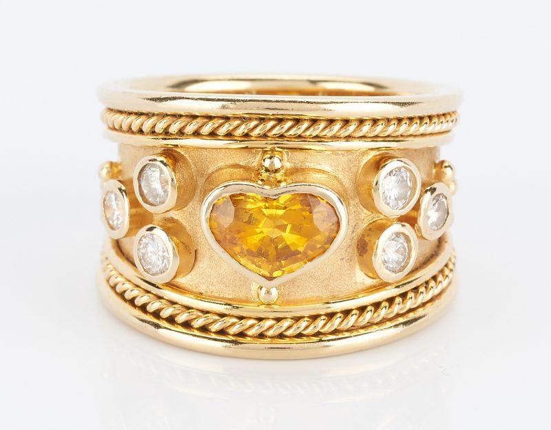 Lot 835: 18K Yellow Sapphire Etruscan Style Designer Ring