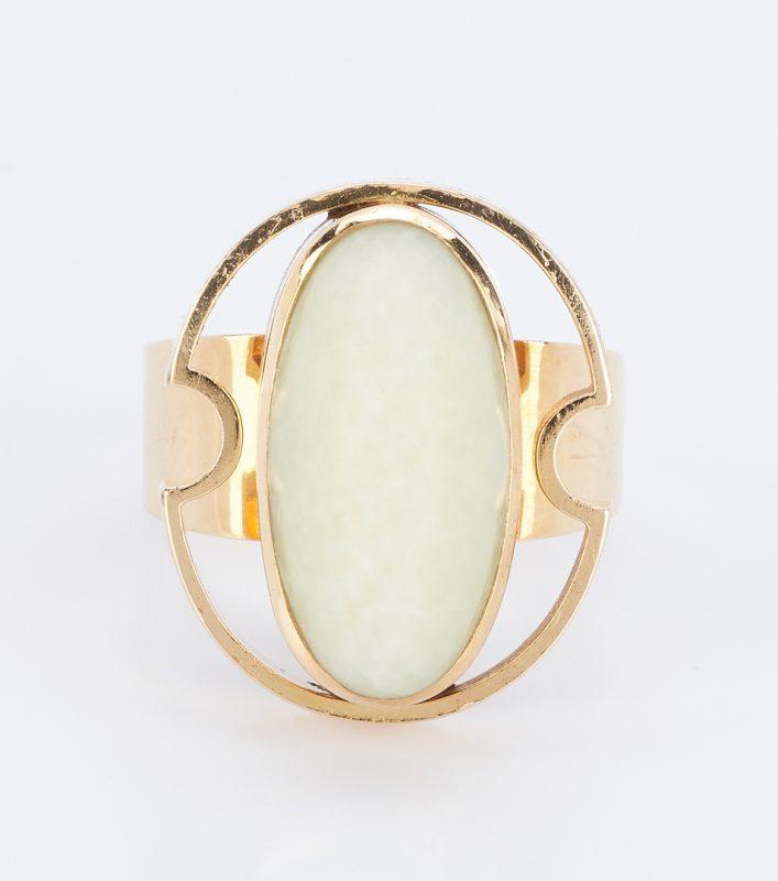 Lot 838: 18K European Modernist Designer Jade Ring