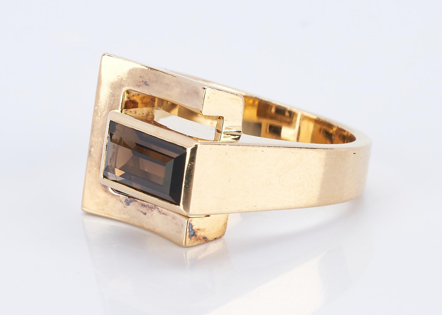 Lot 839: 18K European Modernist Designer Smoky Quartz Ring