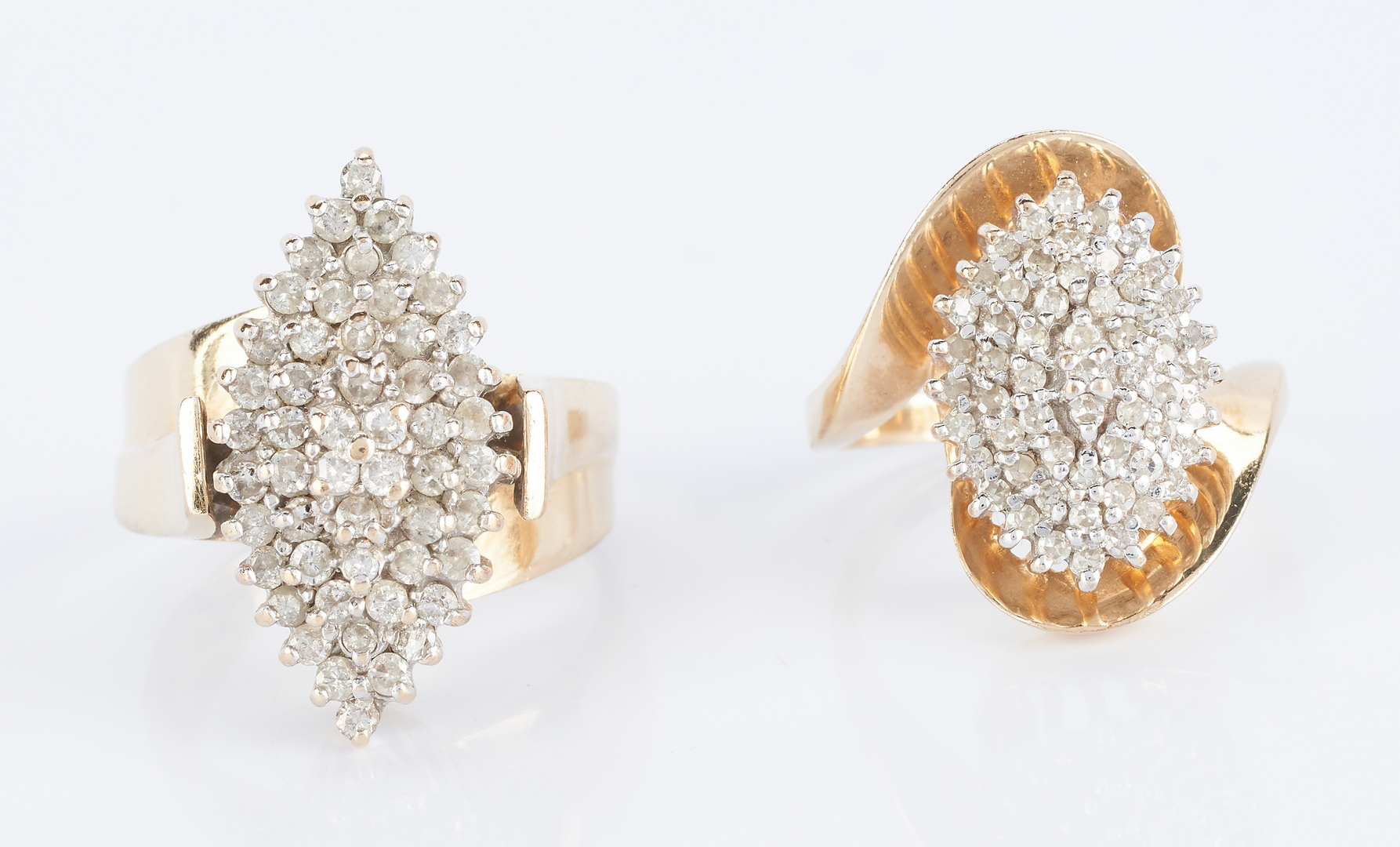Lot 842: 2 Ladies 14K Diamond Dinner Rings
