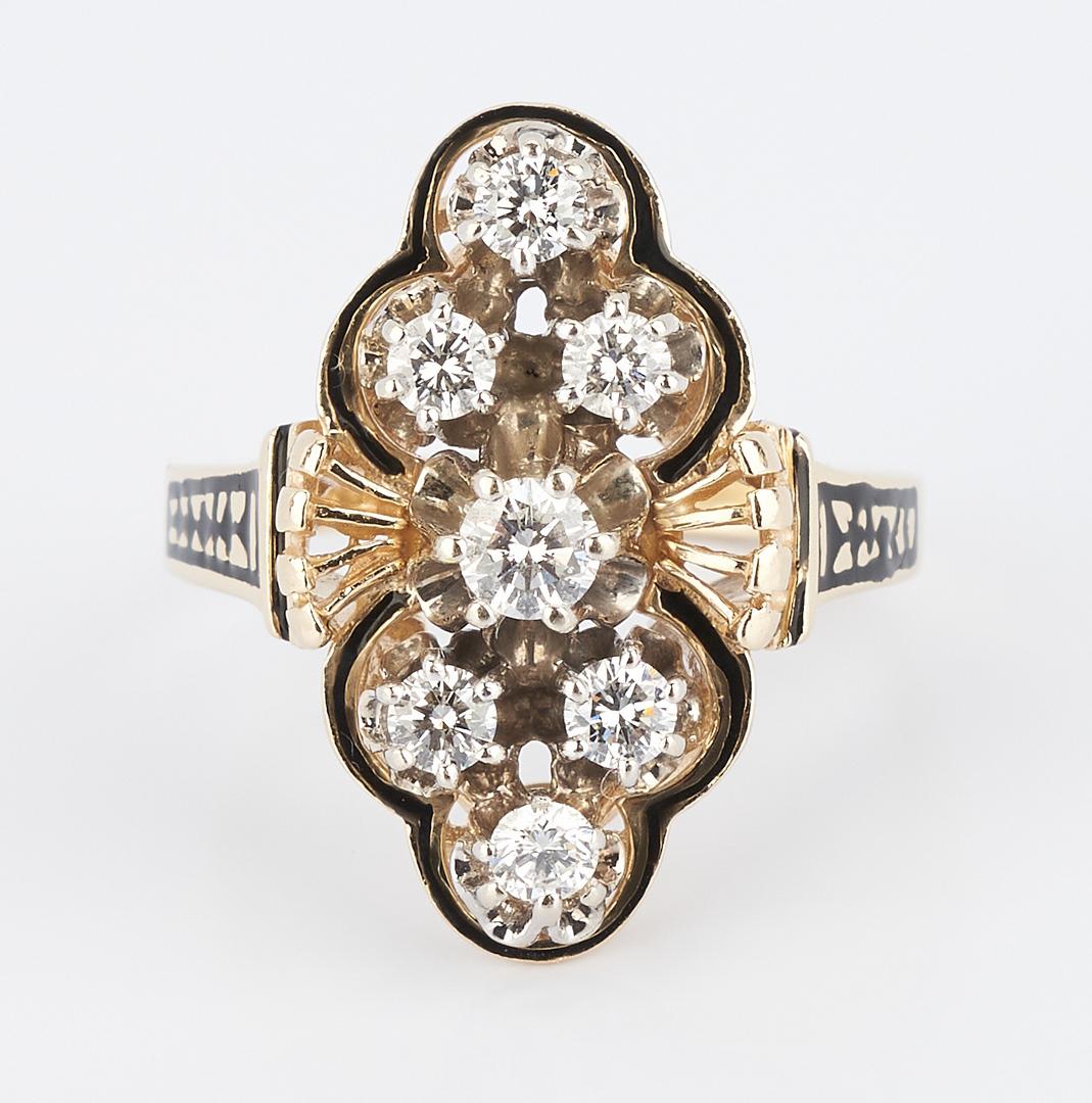 Lot 843: Ladies 14K Gold & Diamond Ring
