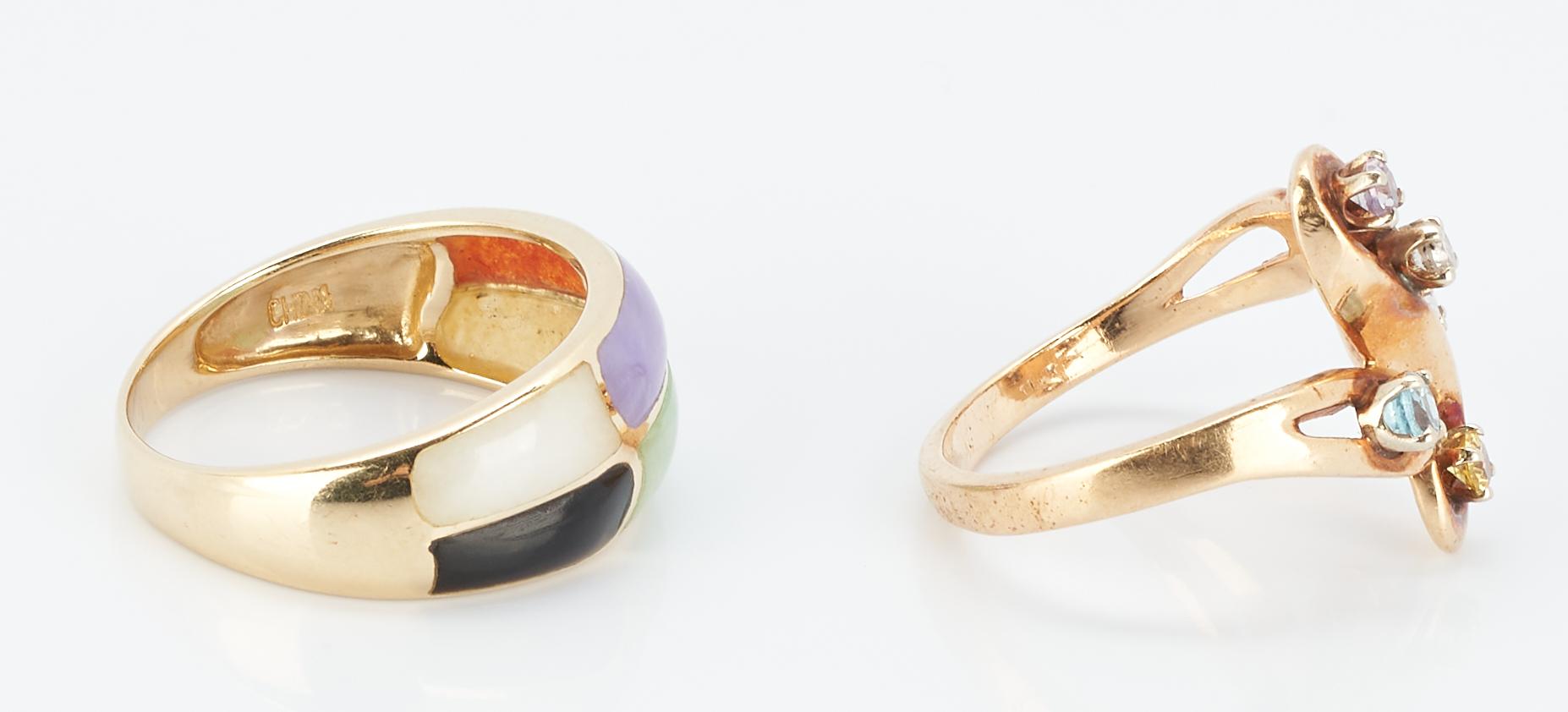 Lot 847: 18K Gemstone Bracelet & 2 14K Gemstone Rings