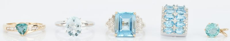 Lot 848: 5 Ladies Yellow Gold & Blue Gemstone Items