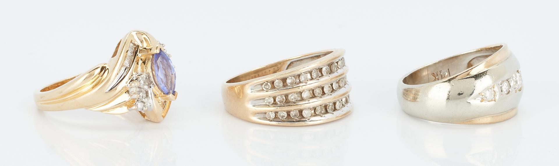 Lot 851: 3 Ladies Diamond Rings, 14K & 10K