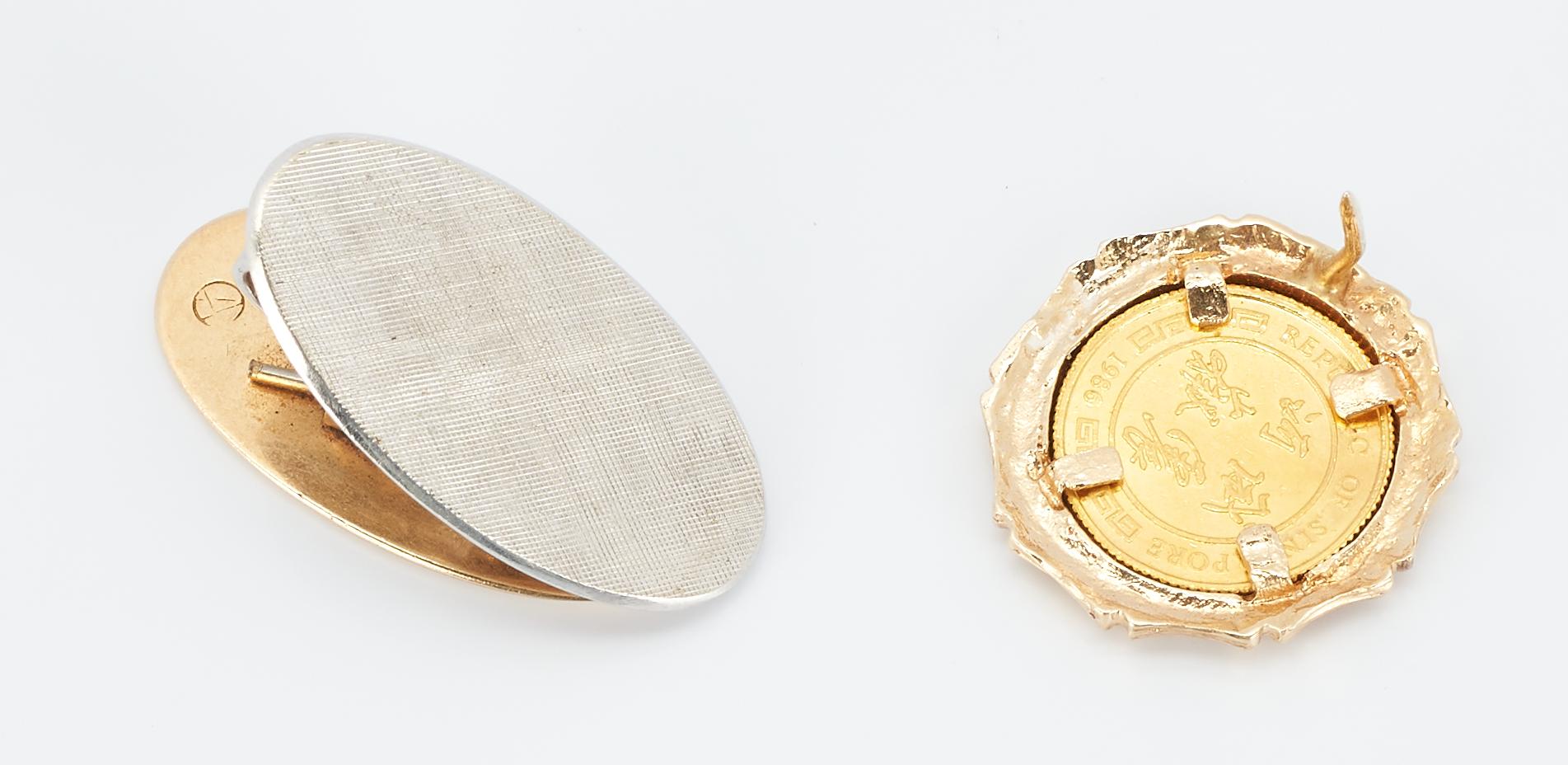 Lot 857: 14K Gold Tie Tack, Collar Stays & Money Clip