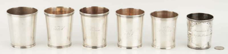 Lot 85: 6 Coin Silver Julep Cups incl. Agricultural