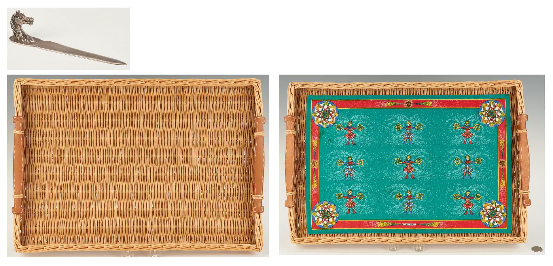Lot 865: Hermes Trays, Placemat and Letter Opener, 4 items
