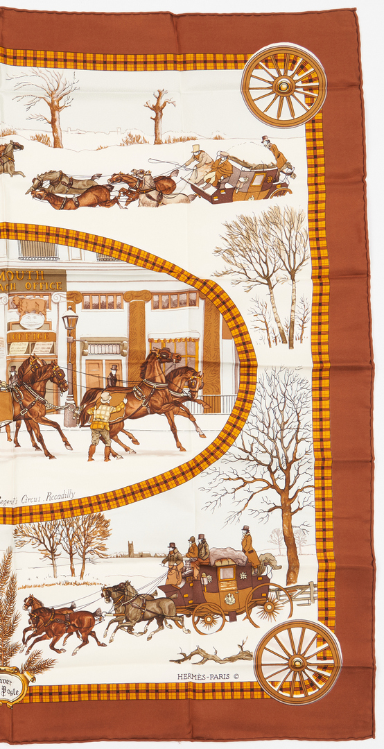 Lot 866: 2 Designer Silk Scarves, Hermes & Gucci