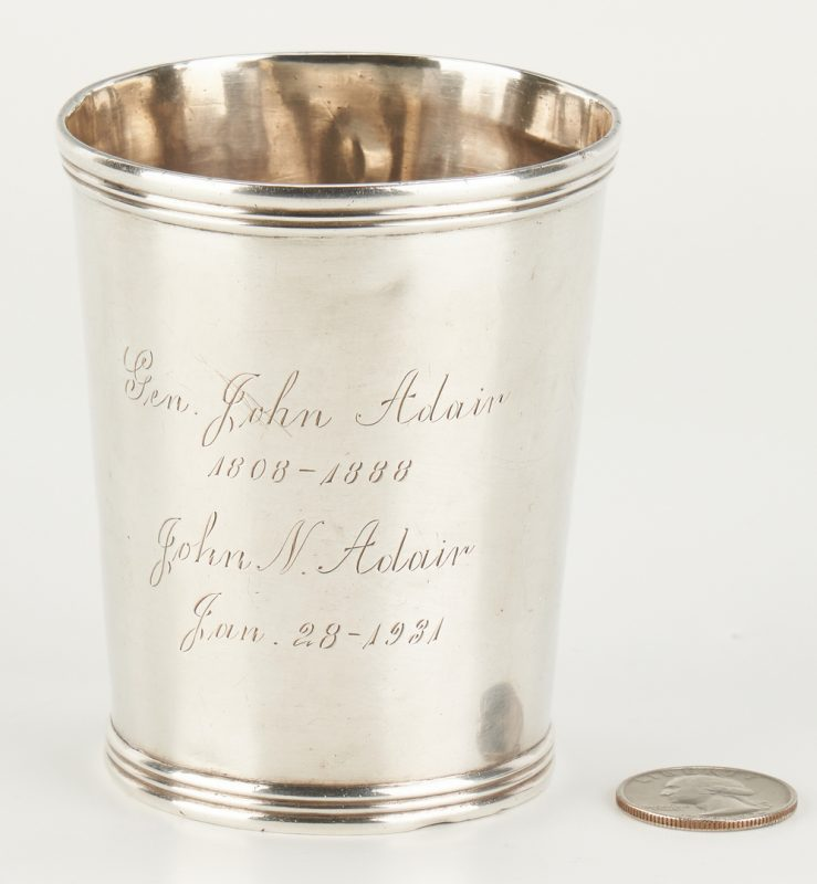 Lot 86: Kinsey Coin Silver Julep, Adair Family Inscription