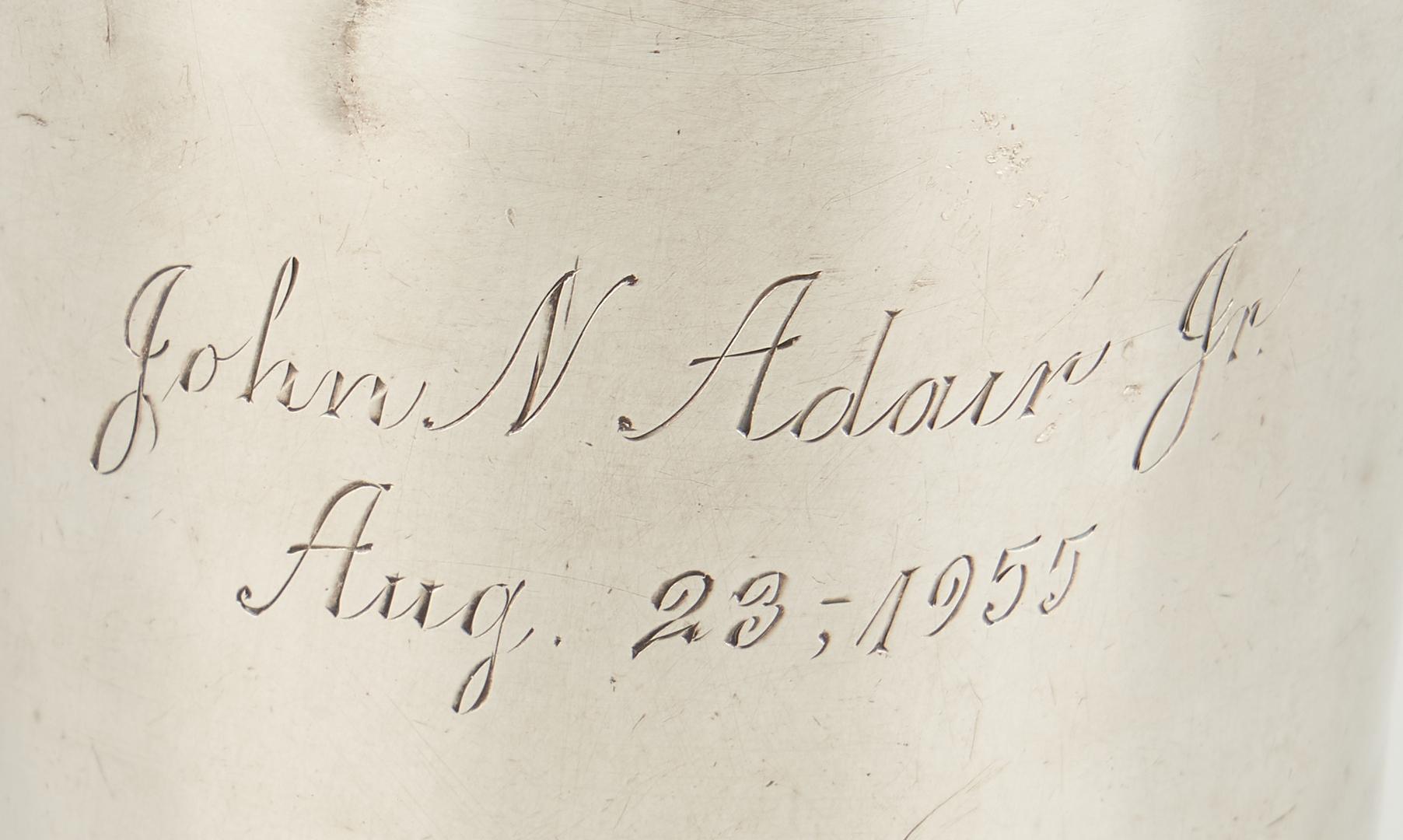 Lot 86: Kinsey Coin Silver Julep, Adair Family Inscription