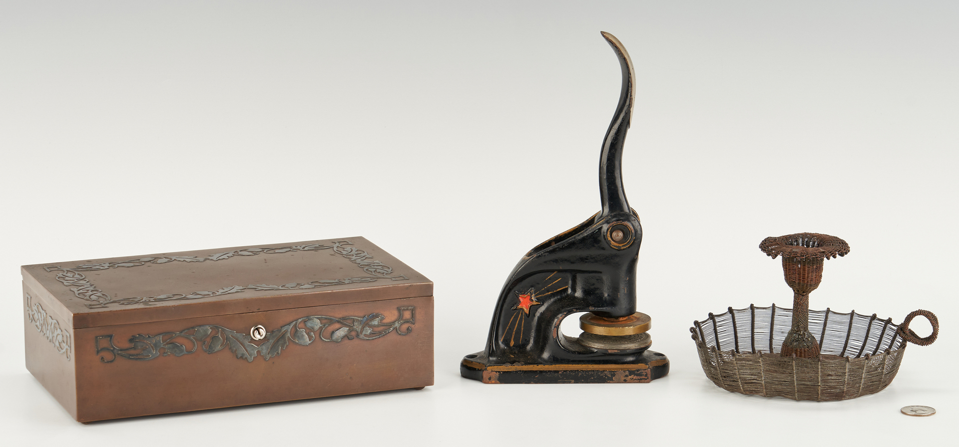 Lot 870: Arts and Crafts/ Art Deco Items Incl. Humidor, Sconces