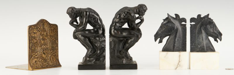 "Lot 871: 5 Bookends, incl. Tiffany, ""Thinker"" and Art Deco Horse"
