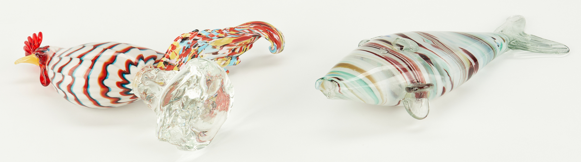 Lot 873: Murano Glass Aquarium, Rooster and Fish