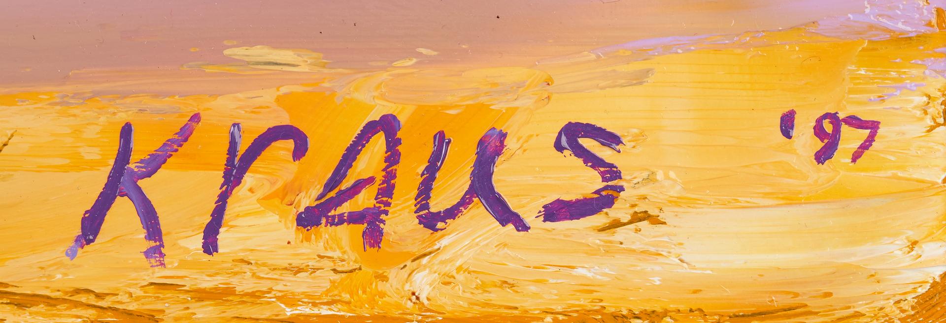 """Lot 883: Harold Kraus oil on board still life, 36"""" square"""