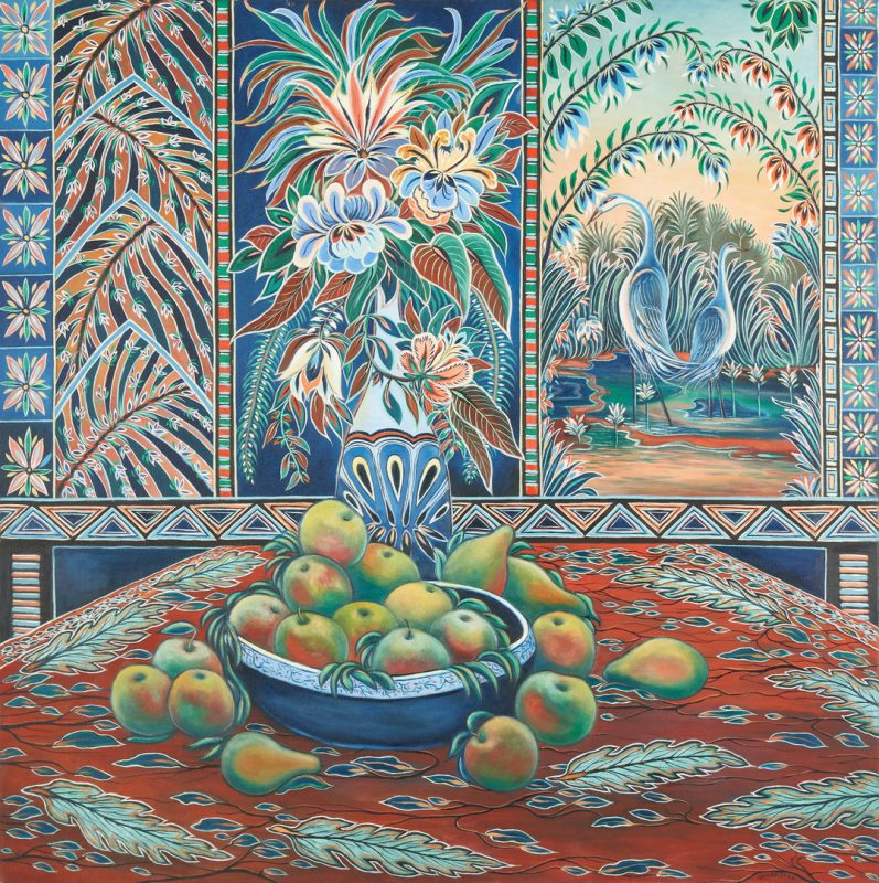Lot 884: Paul Lancaster O/C, Tropical Still Life