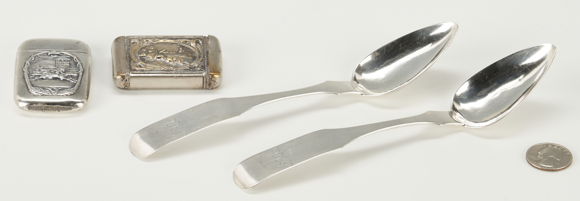 Lot 88: 2 KY Coin Silver Spoons & 2 Silver Matchbox Covers