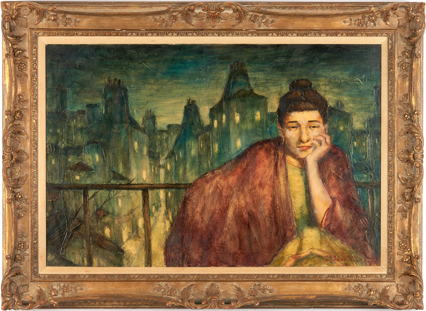 Lot 899: Cortland Butterfield O/C, Portrait of Woman