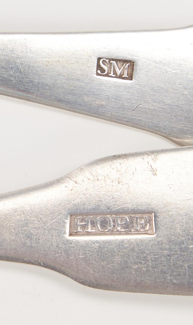 Lot 89: 9 Pcs Coin & Silver Flatware, incl. Hope & Karsner
