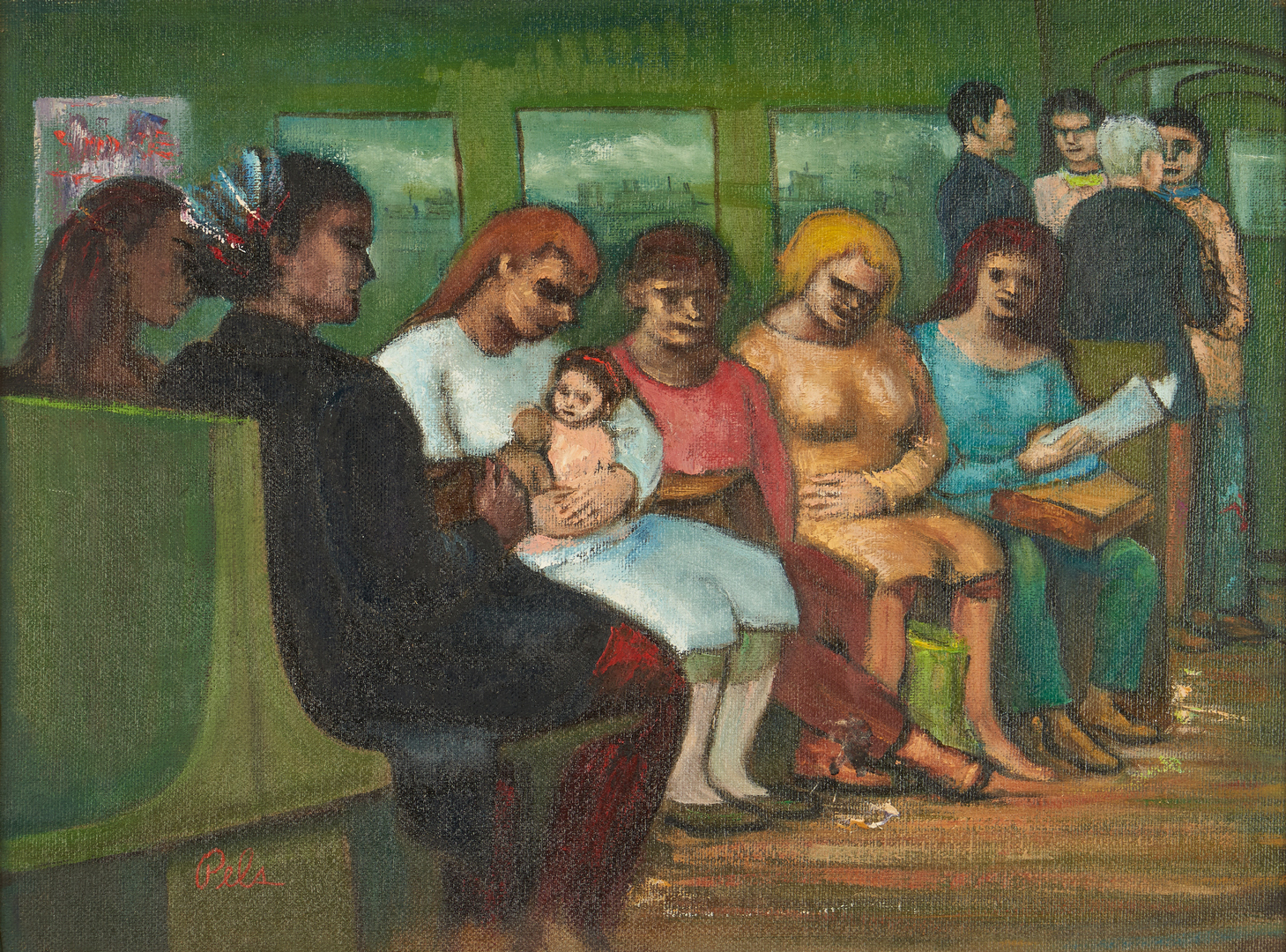 "Lot 900: Albert Pels O/B Painting, Subway on the ""EL"" Track"