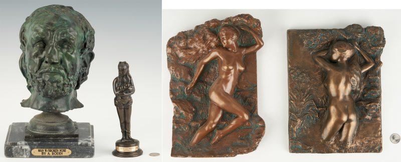 Lot 906: 4 Bronze Sculptures or Plaques, incl. after Rodin, Renoir